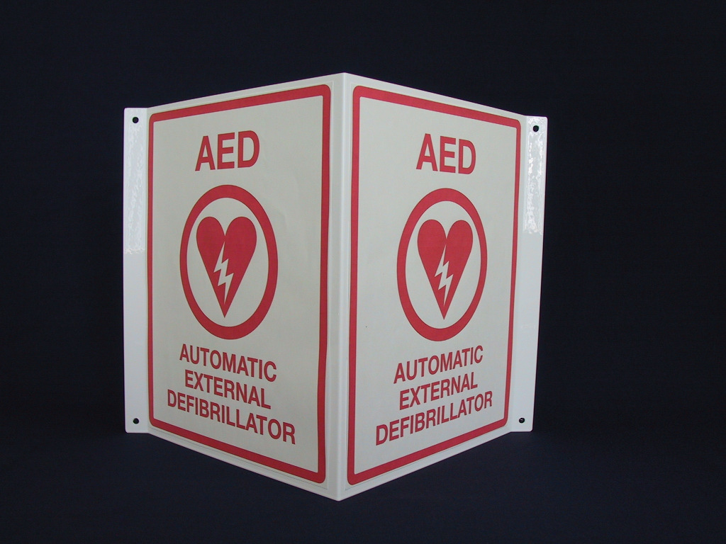 150 Aed V Shaped Sign